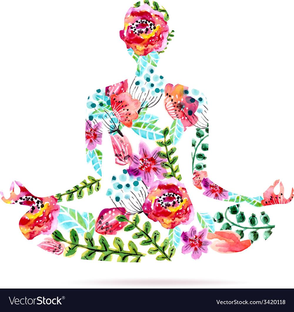 Yoga Pose Watercolor Bright Floral Royalty Free Vector Image