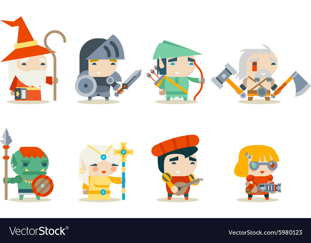 Fantasy RPG Game Character Icons Set vector image