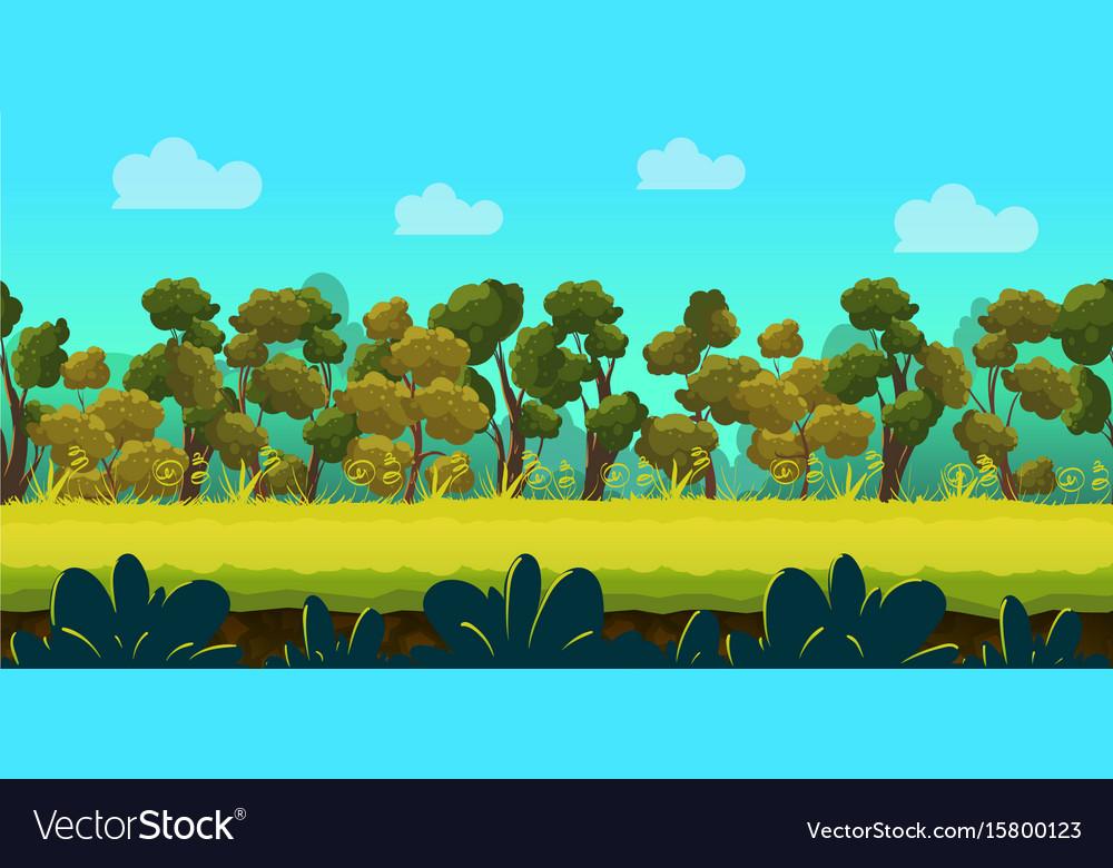 forest 2d game landscape for games mobile vector image