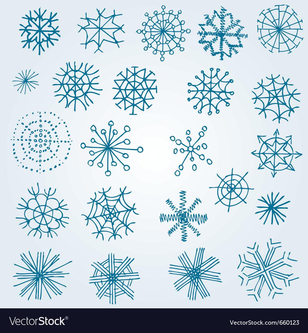 hand drawn snowflakes royalty free vector image rh vectorstock com snowflakes vector free snowflake vector ai