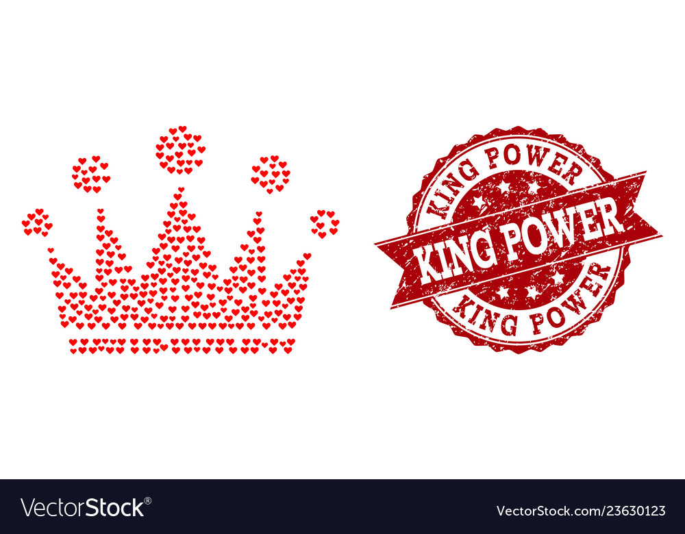 Love Heart Collage Of Crown Icon And Grunge Stamp Vector Image