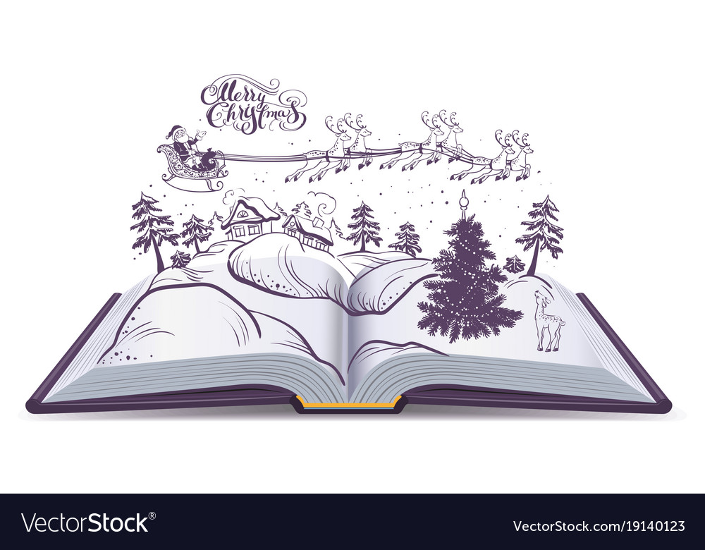 Open book tale about christmas santa and deer in vector image
