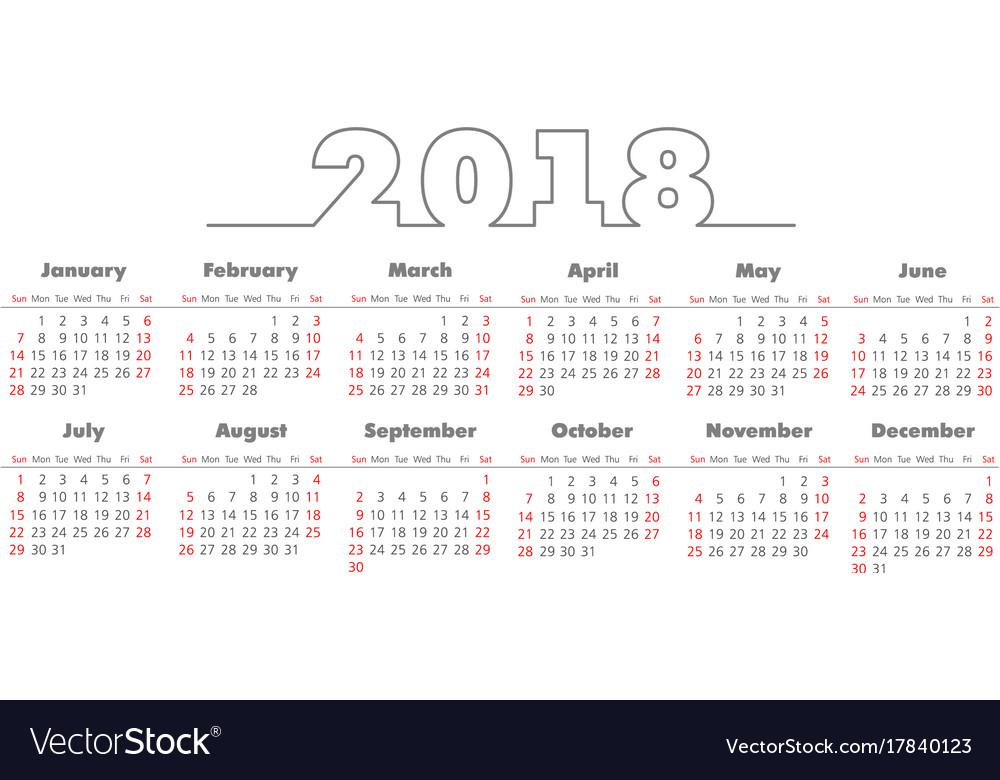 Simple 2018 year calendar vector image