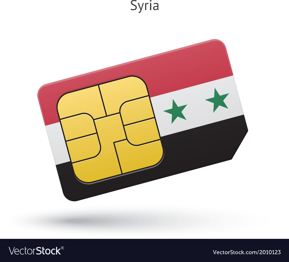 Syria mobile phone sim card with flag vector image