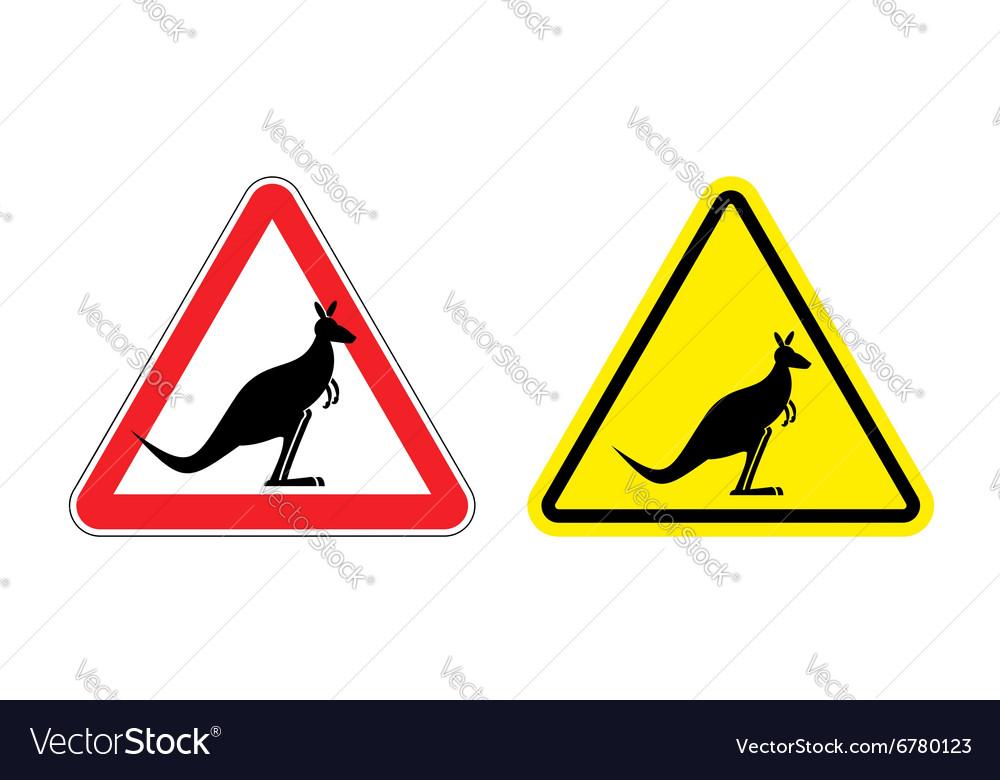 Warning sign of attention Kangaroo Hazard yellow