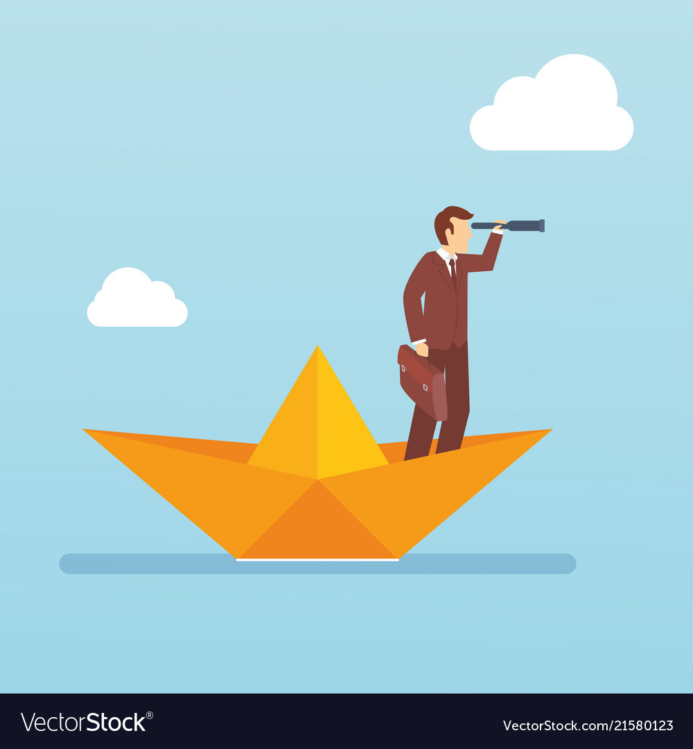 young bussiness man with spyglass lead in the vector image