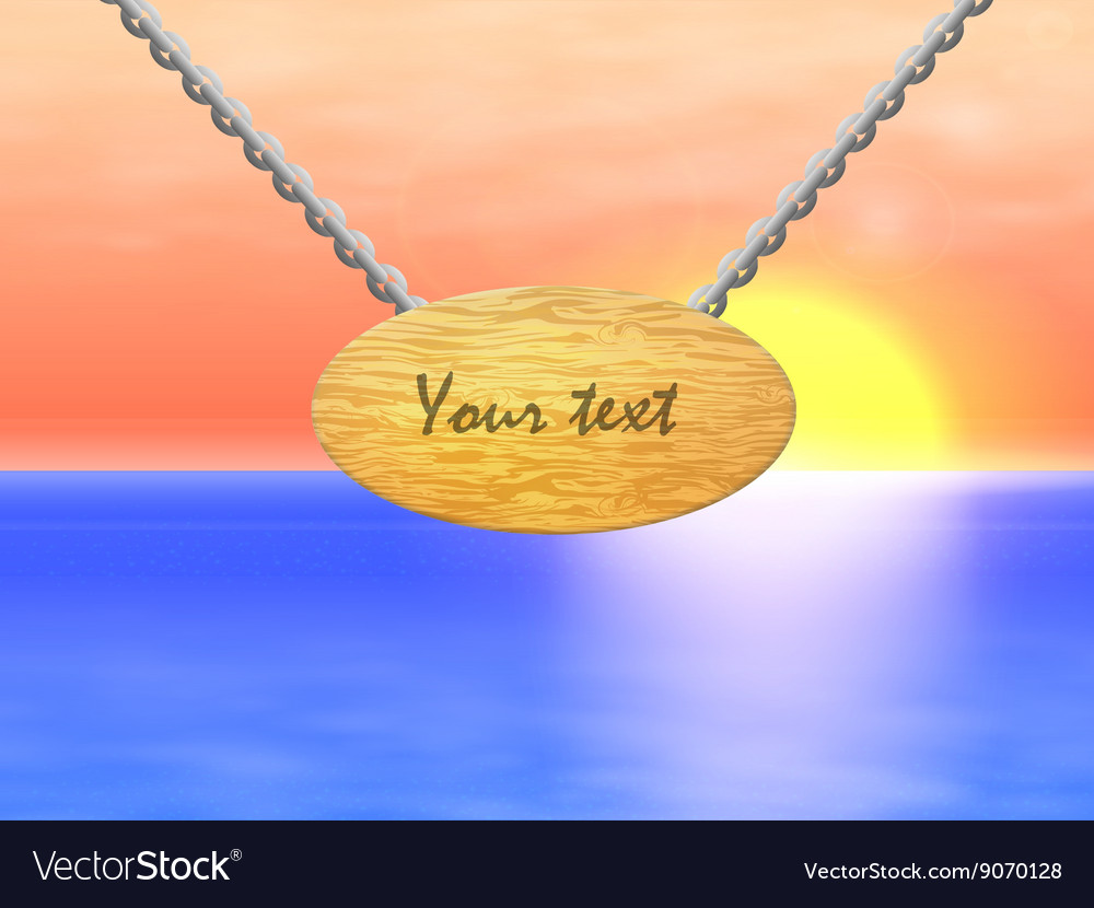 A wooden sign with chain vector image