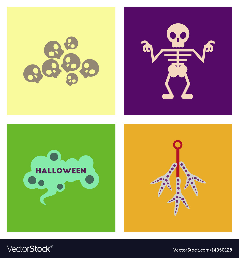 Assembly flat icons halloween skeleton sign