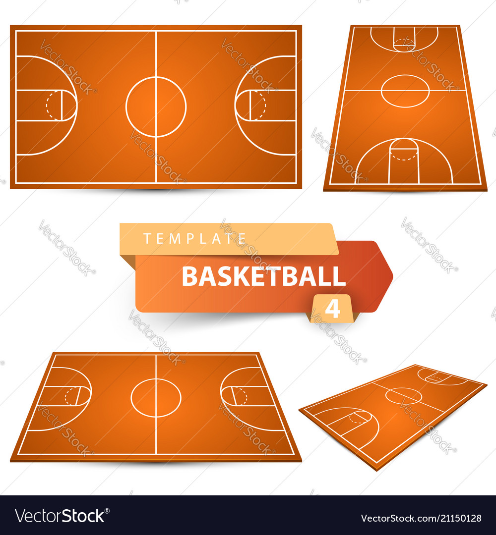Basketball Court Four Items Sport Template Vector Image