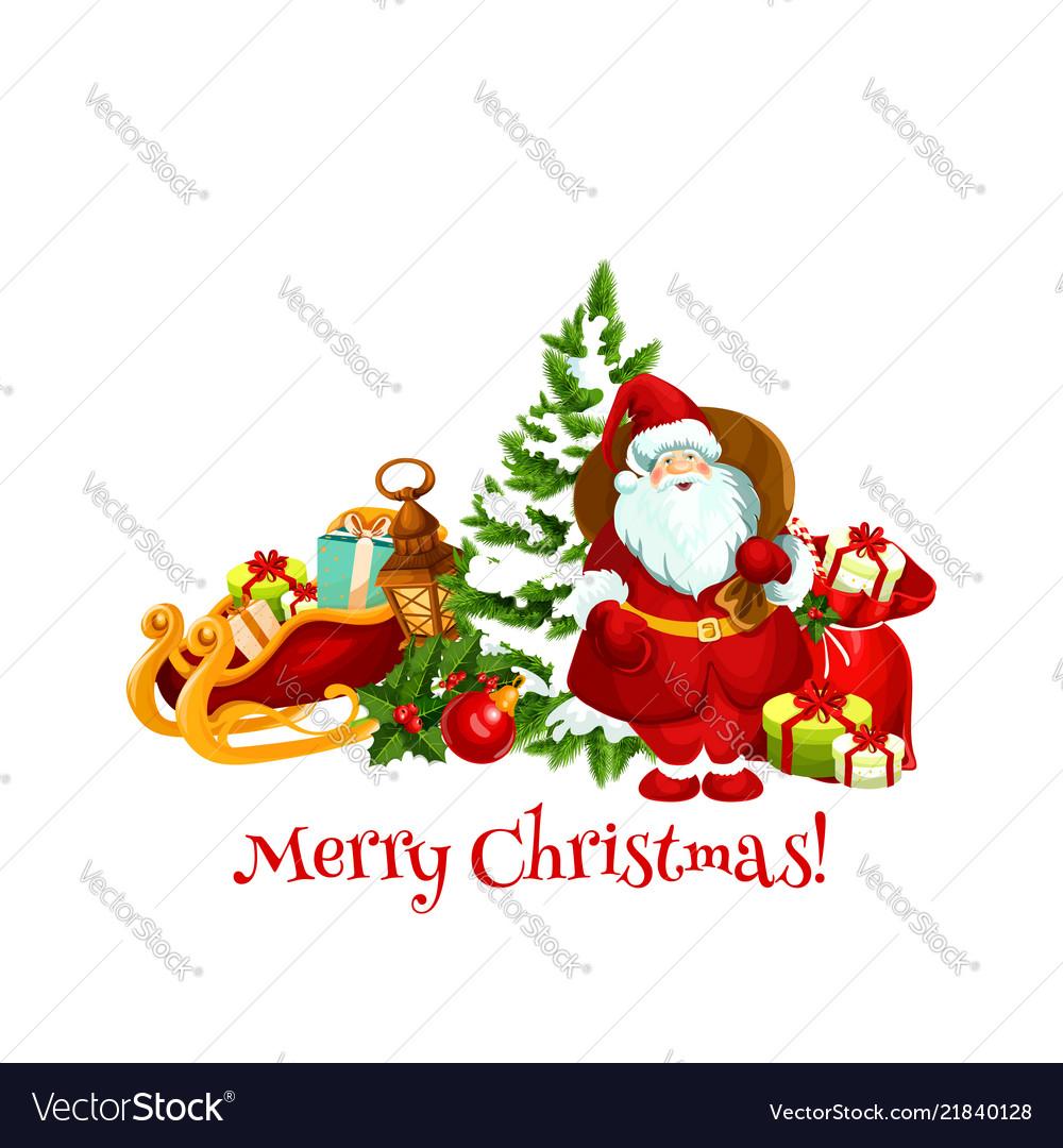 Christmas holiday gifts and santa
