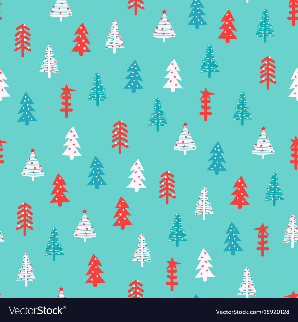 Christmas pattern with fir trees