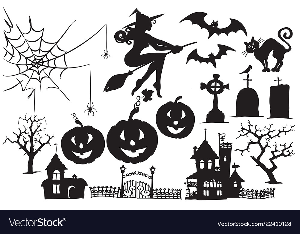 Collection halloween symbols and characters