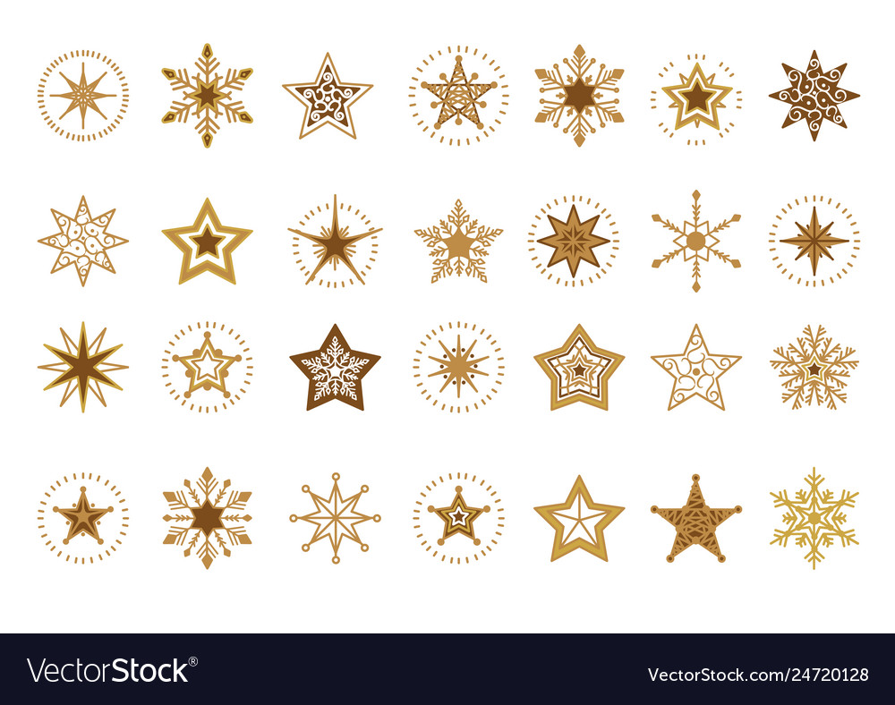 Collection of flat snowflakes a stars christmas