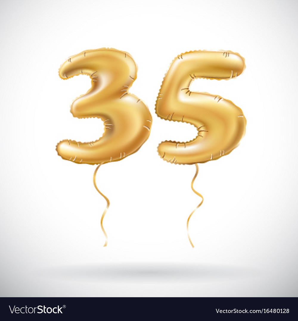 Golden Number 35 Thirty Five Metallic Balloon Vector Image