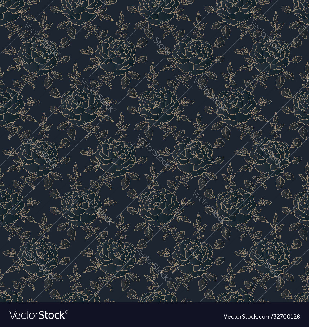 Golden roses on blue seamless floral pattern