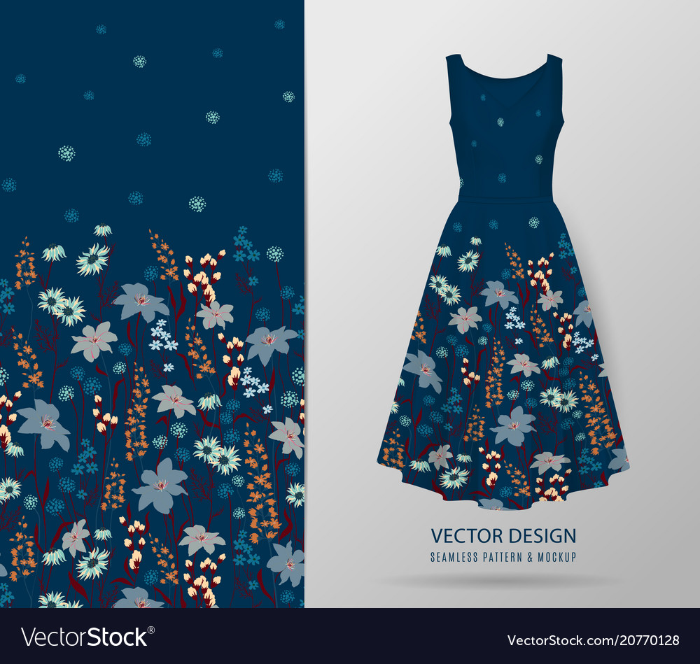 Hand drawn floral pattern on dress mockup