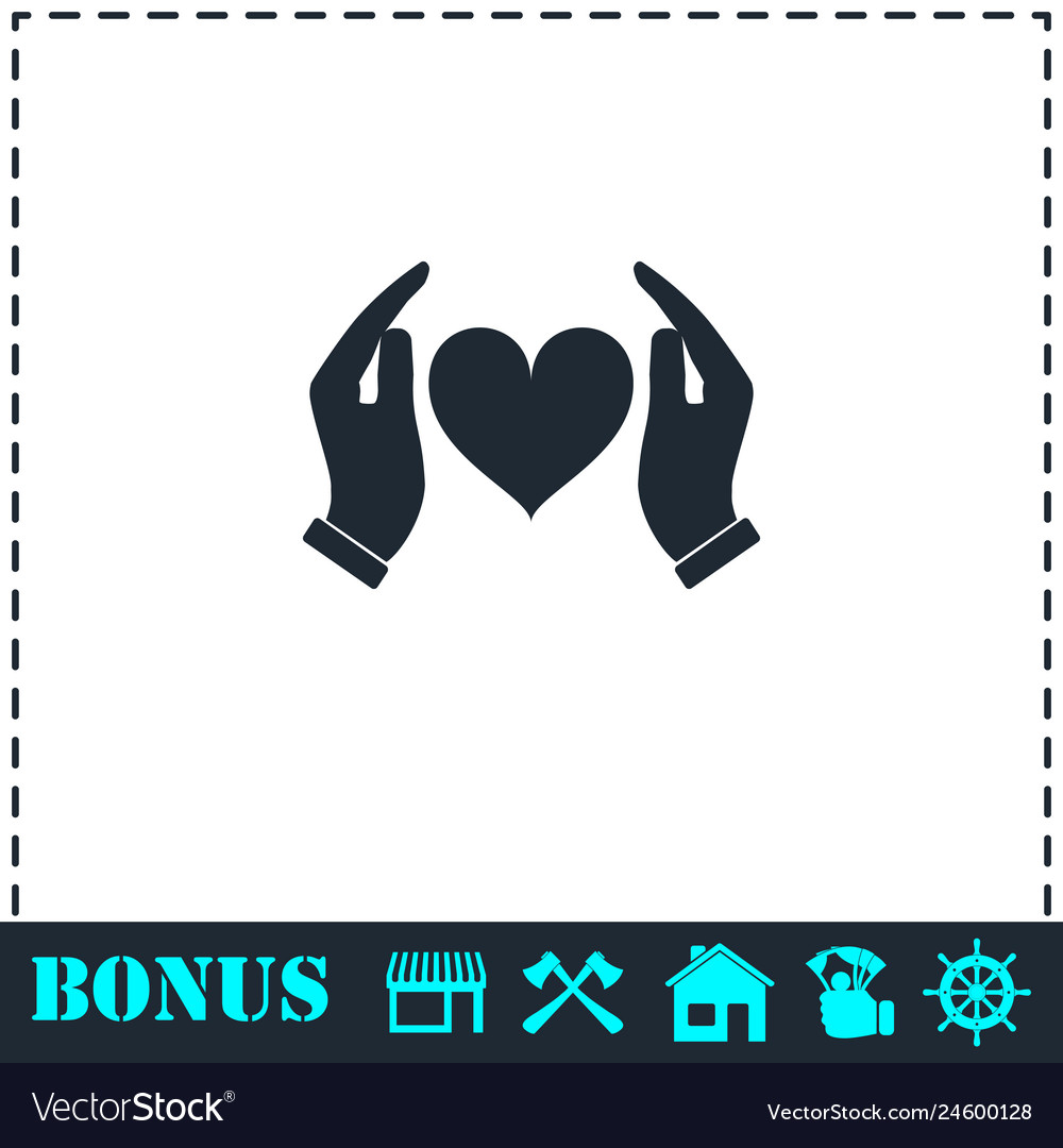 Human hands holding and protect heart icon flat