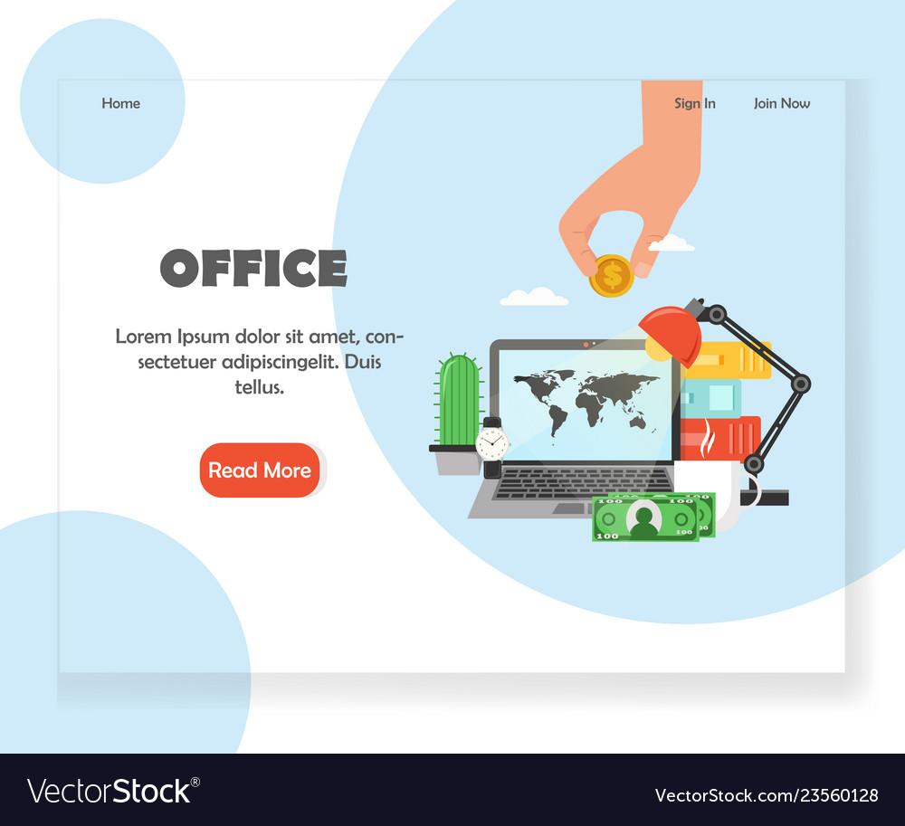Office workspace website landing page