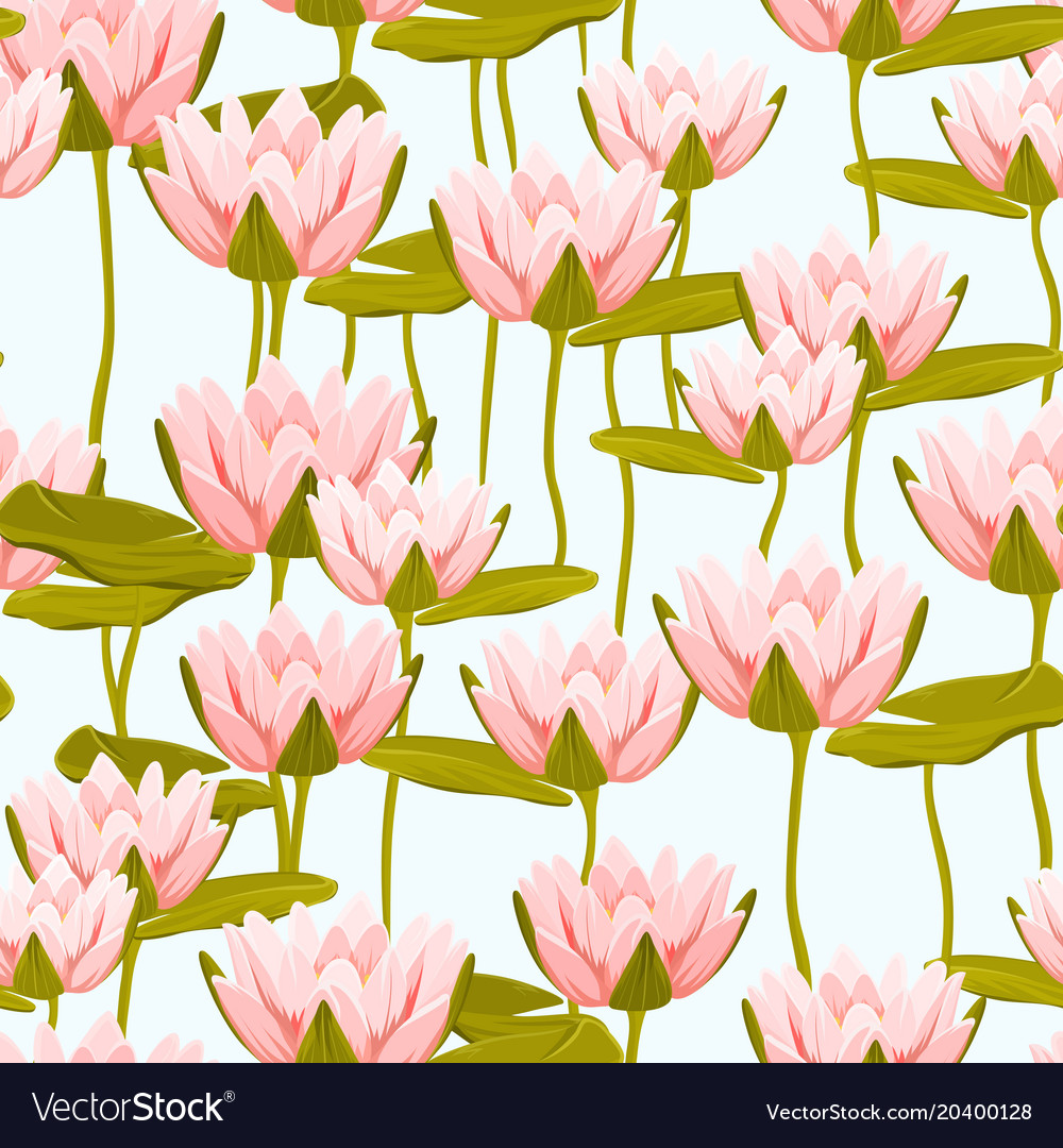 Pink water lily lotus flowers seamless pattern vector image mightylinksfo