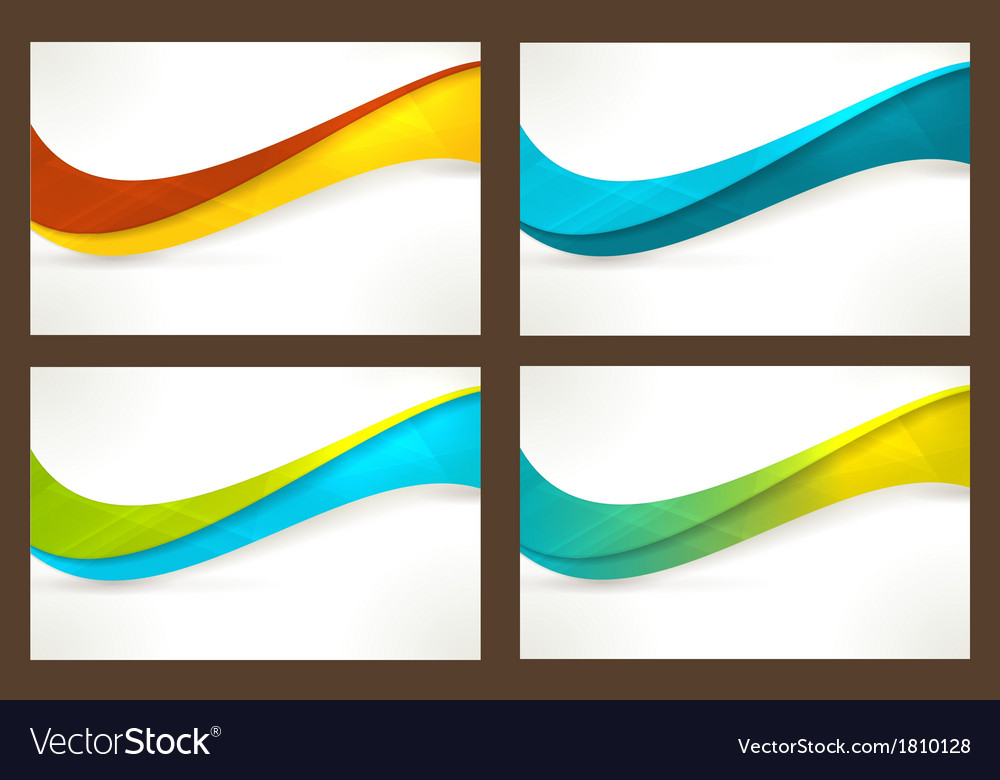 Set of colourful wave templates banners