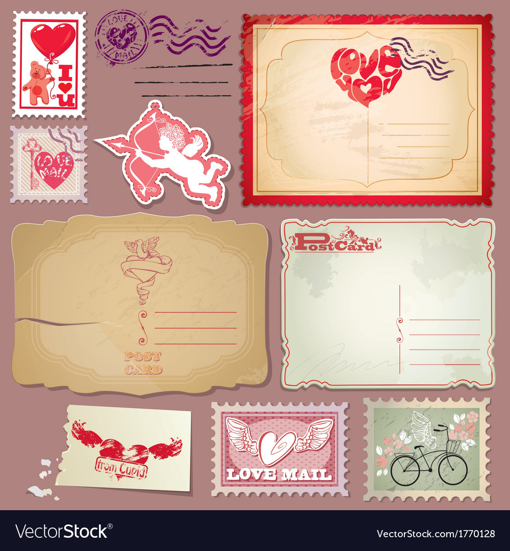 Set of vintage postcards and post stamps for Valen