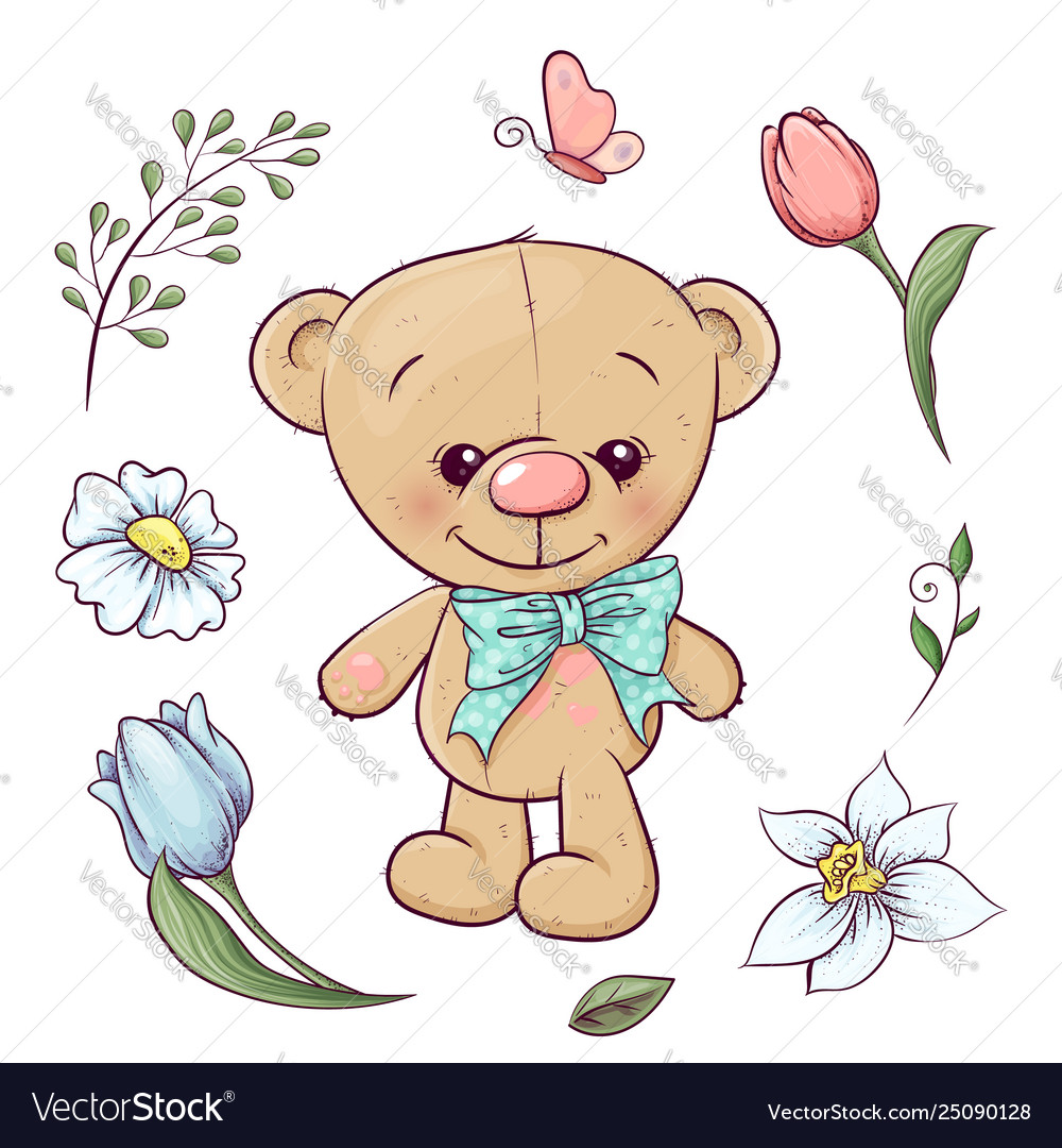 Set teddy bear and flowers hand drawing