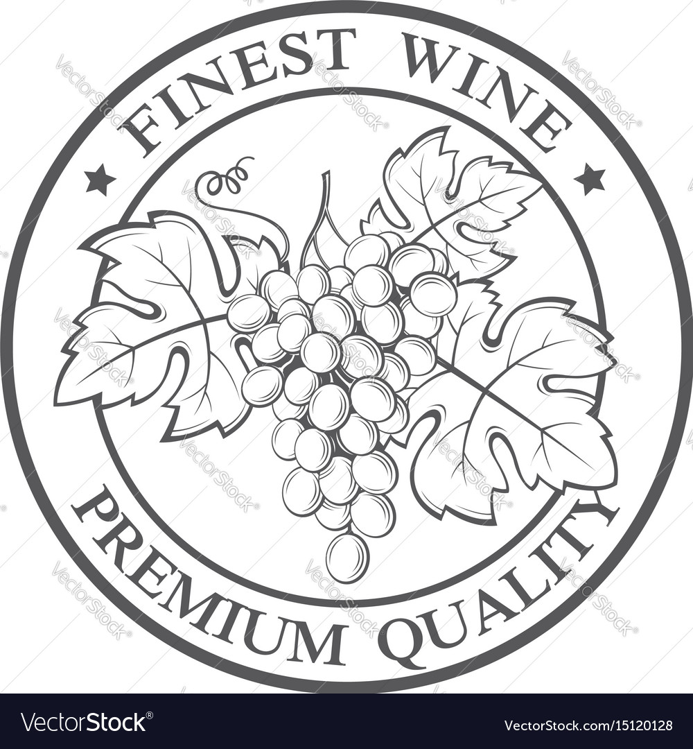 Stamp with grapes bunches