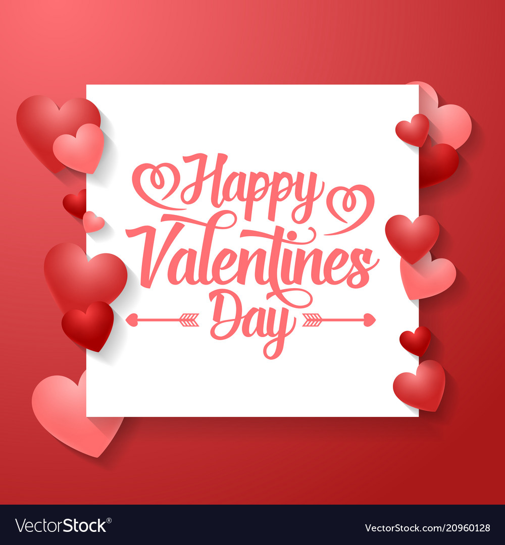 Valentine day background with red hearts