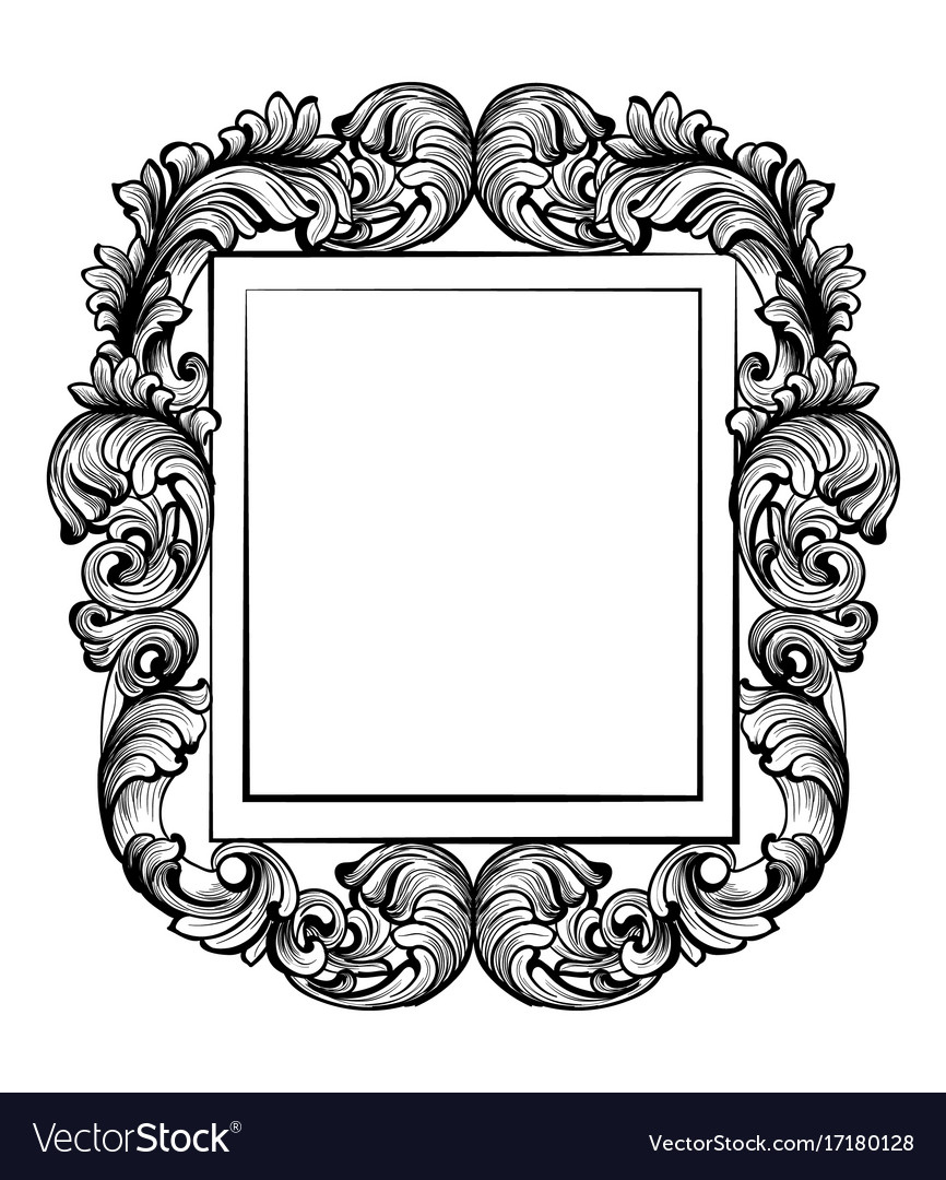 Vintage baroque frame decor detailed rich Vector Image