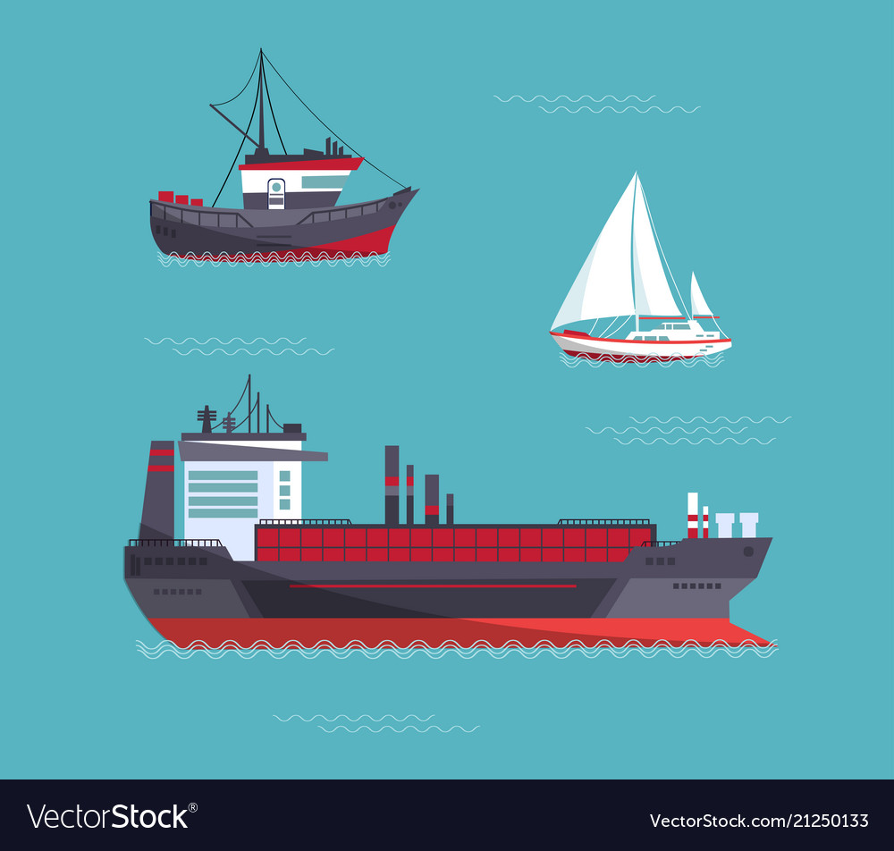 A yacht a cargo ship a fishing vessel in one