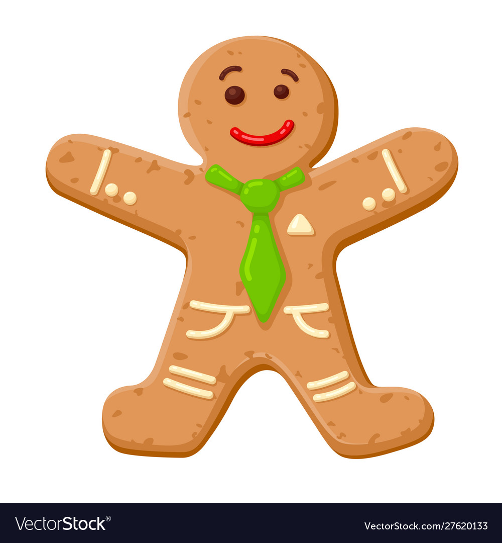 Christmas gingerbread man cute decorated cookie