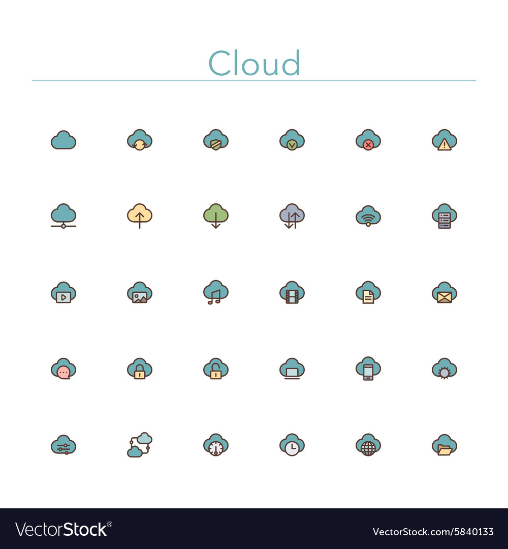 Cloud Colored Line Icons vector image