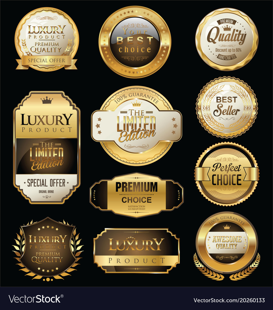 Premium and luxury golden retro badges and labels