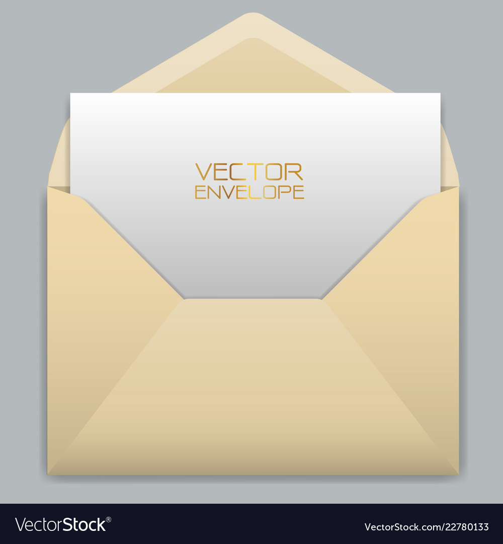 Realistic yellow envelope with white card inside