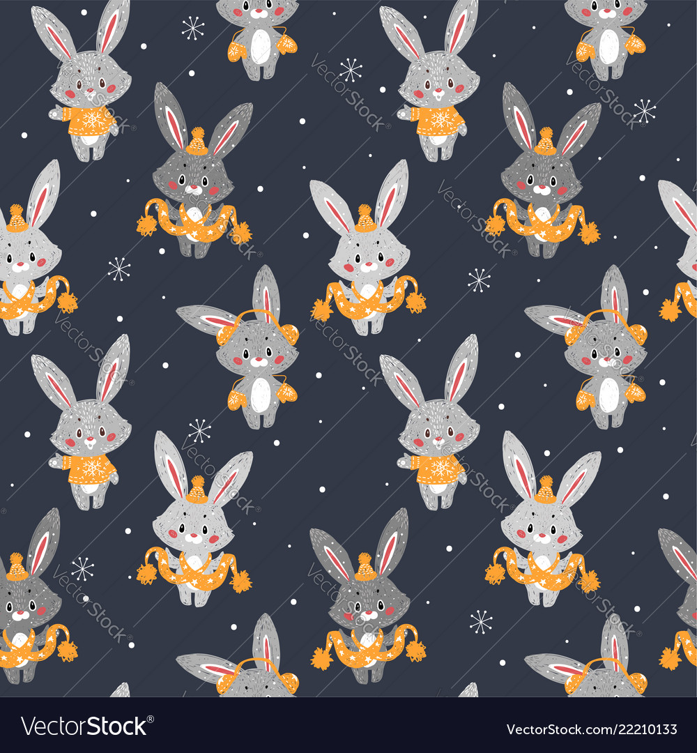 Seamless pattern with cute bunny in scarf and hat
