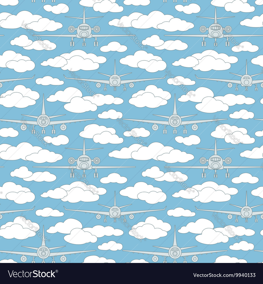 Seamless pattern with passenger airplanes 05