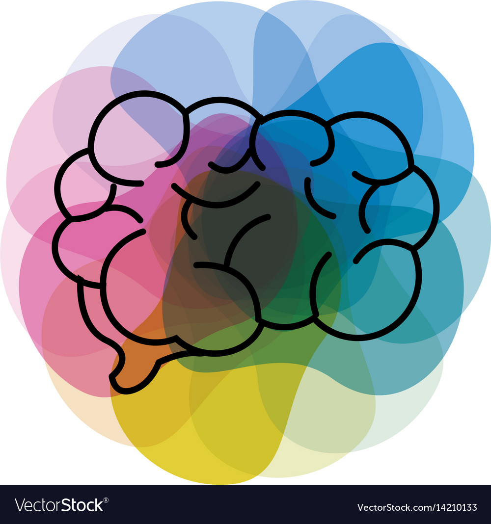Watercolor Mental Health Brain Art Icon Royalty Free Vector