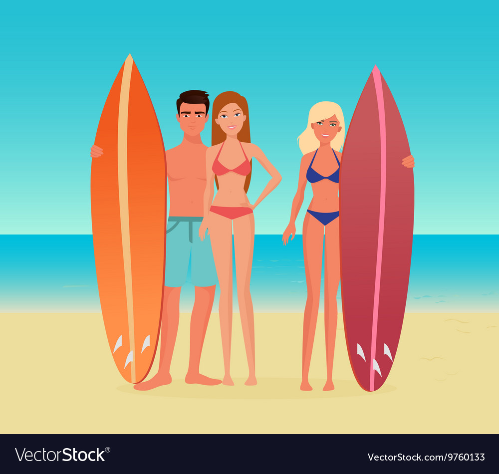 Young cartoon surf group of people Guy man and