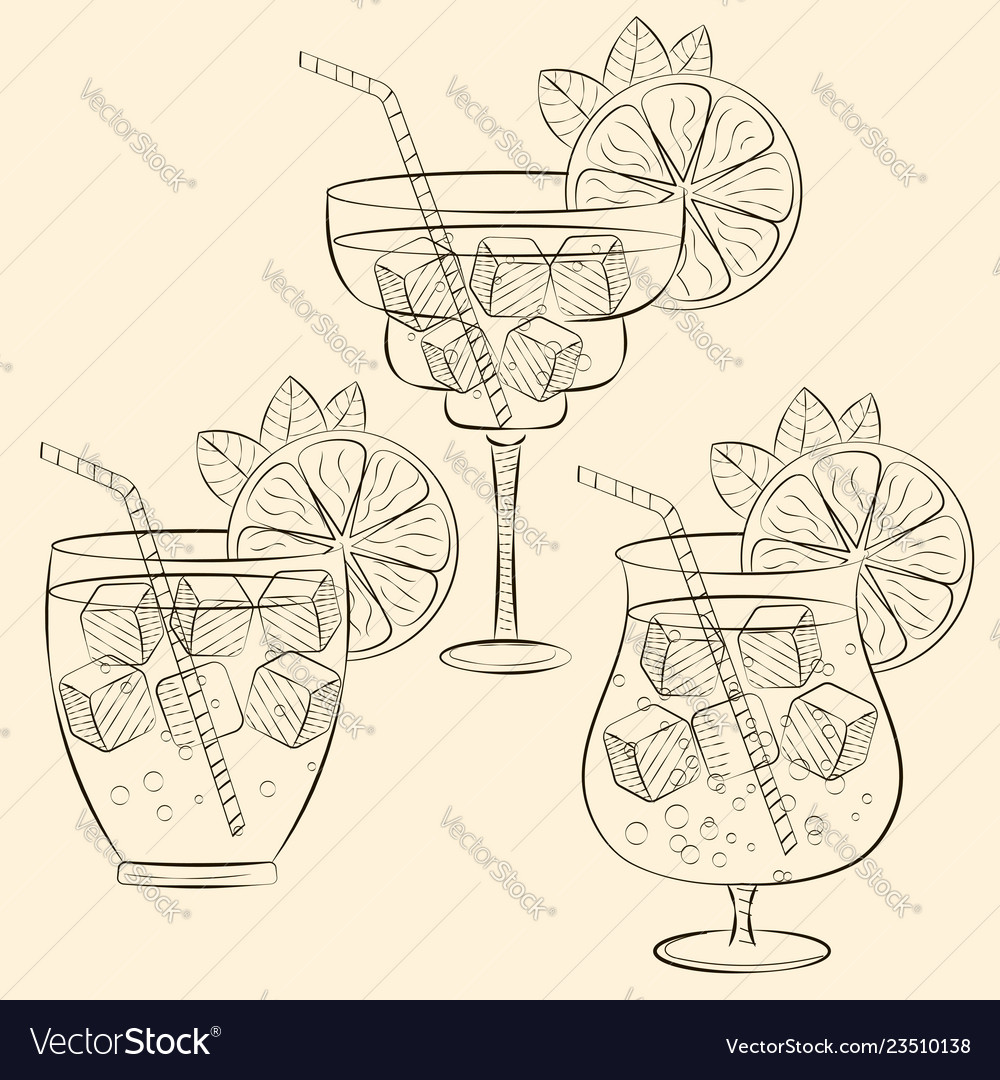 Alcoholic cocktail glass hand drawn sketch
