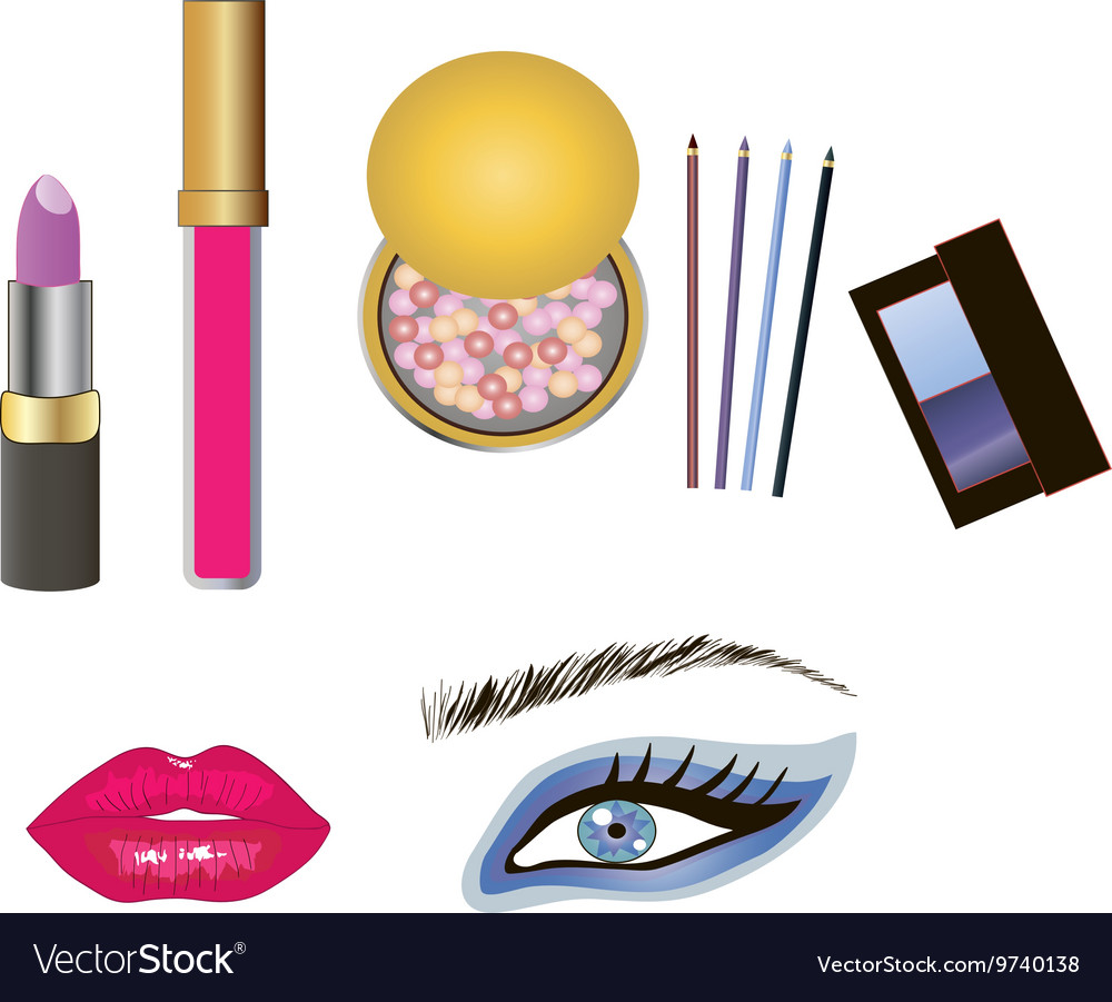 Beauty product and makeup details vector image