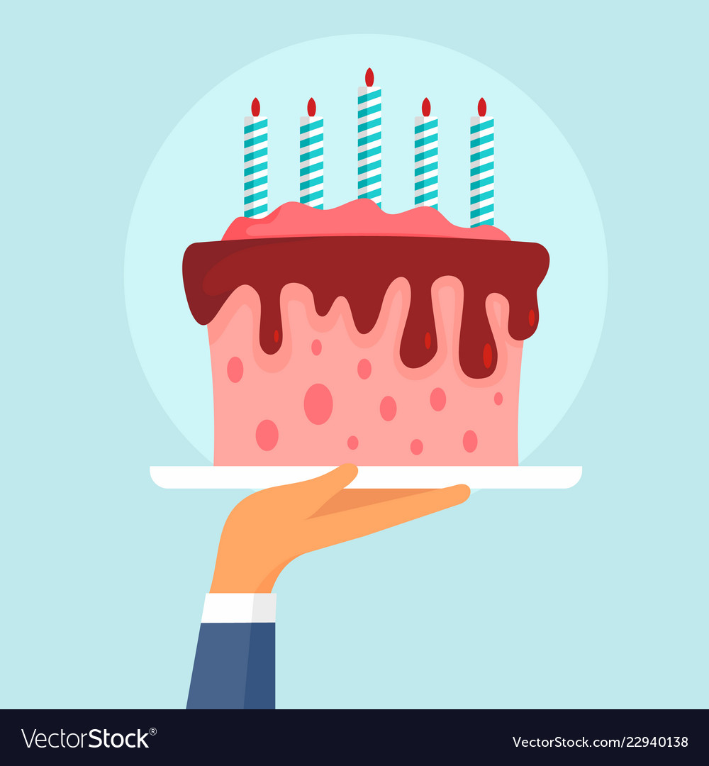 Birthday cake concept background flat style