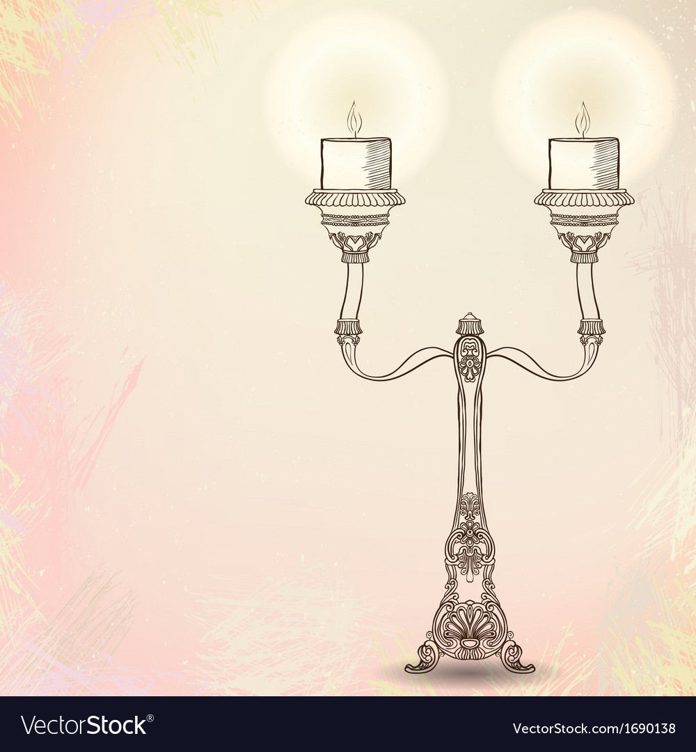 Candlestick with two stems on watercolor
