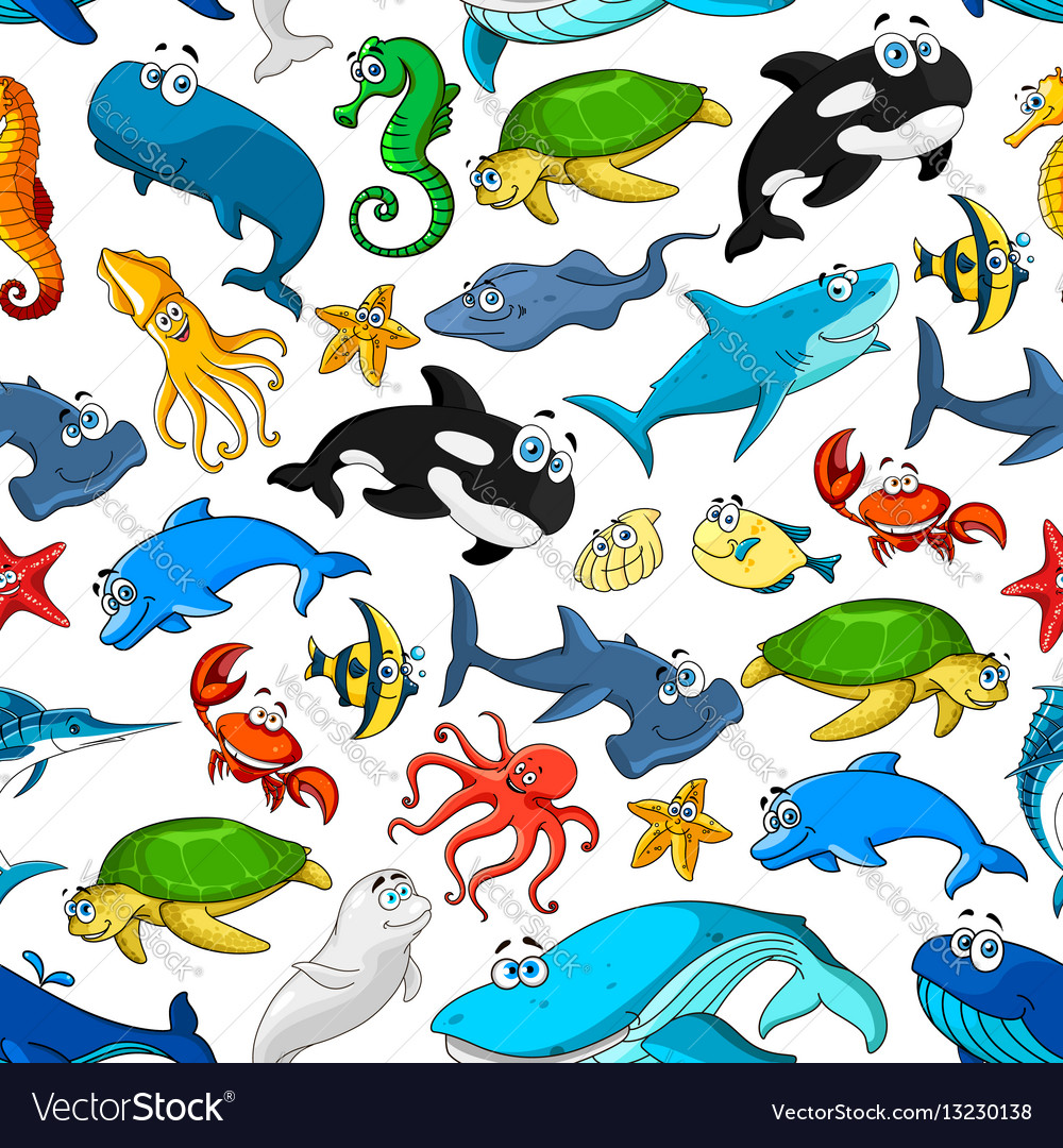 Cartoon sea fishes and animals pattern