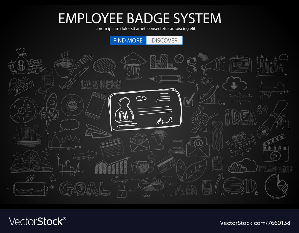 Employee Badge System concept with Doodle design