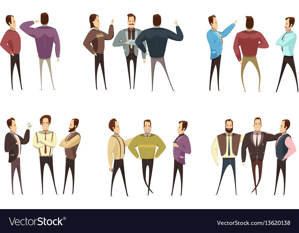 Groups of businessmen cartoon style set