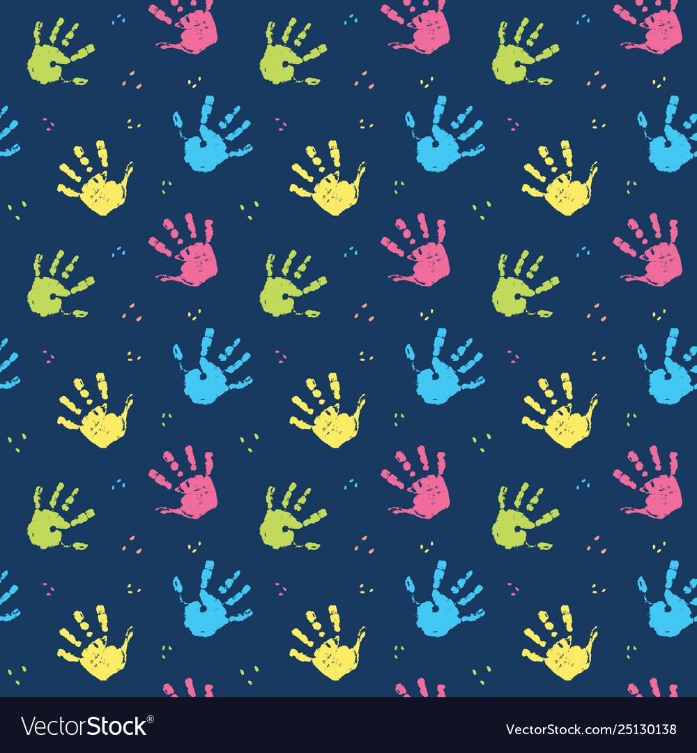 Hand stamp seamless pattern paint stain background