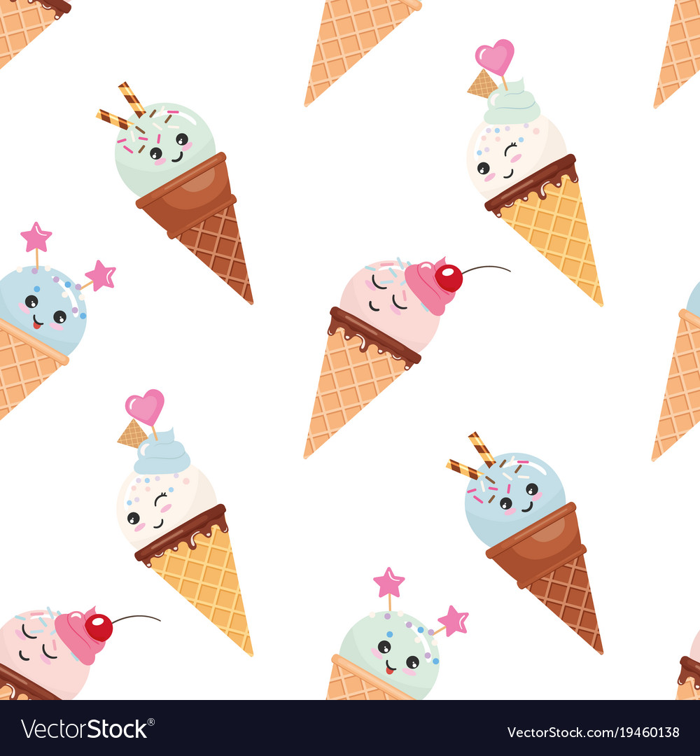 Kawaii ice cream cone seamless pattern background
