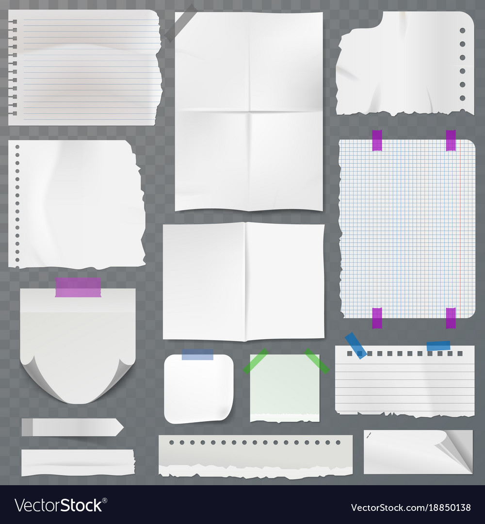 Note papers page of notepad or sheets of vector image