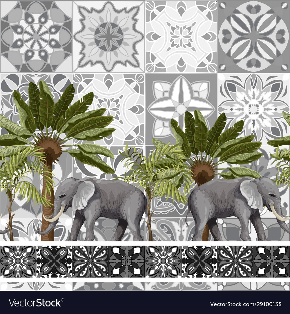 Seamless pattern with elephants and tropical trees