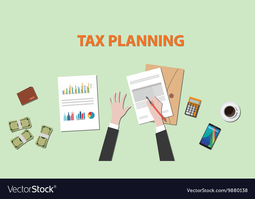 Tax planning with businessman hand on paper